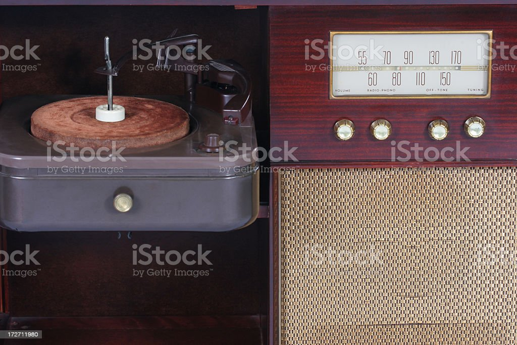 Vintage radio and turntable stock photo