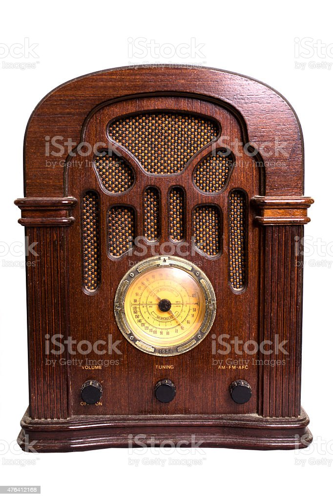 Vintage radio from the 1930s isolated on white. stock photo