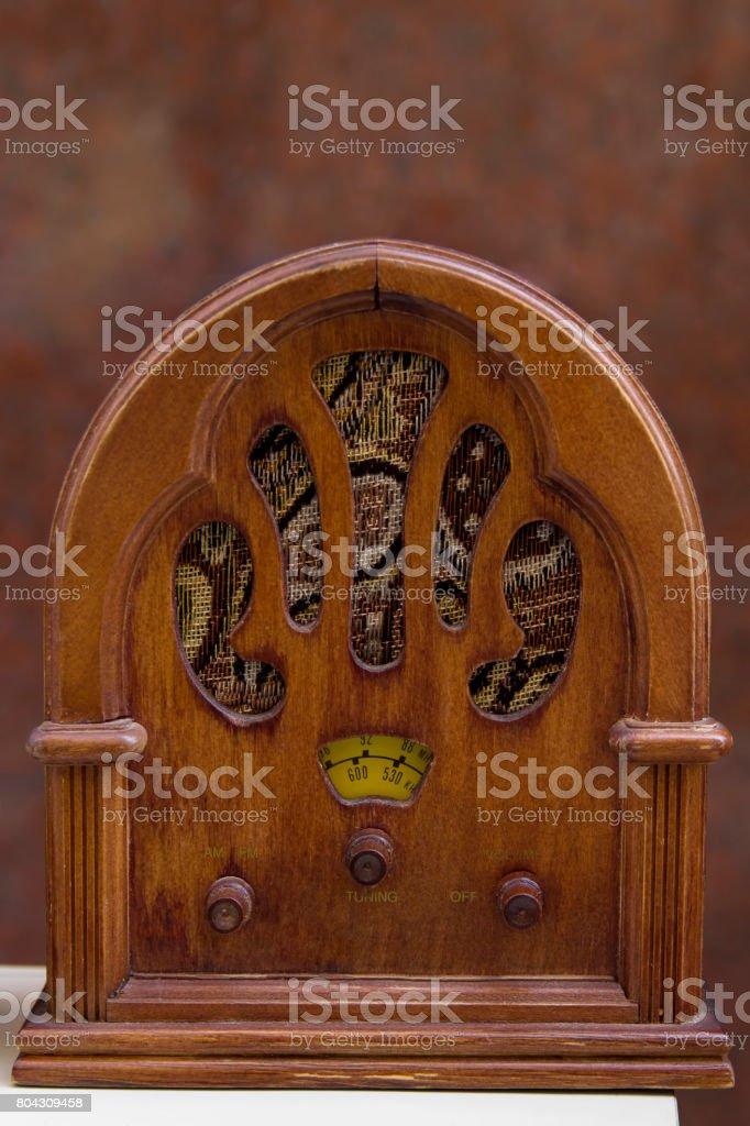 Vintage radio in close-up stock photo