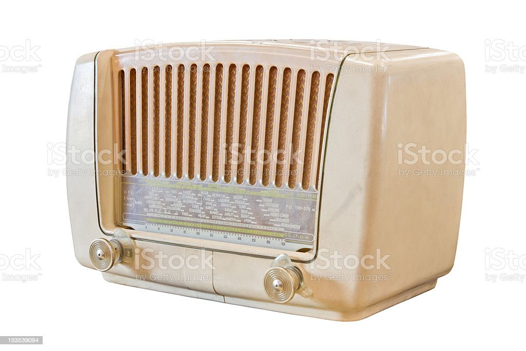 vintage radio isolato su sfondo bianco foto stock royalty-free