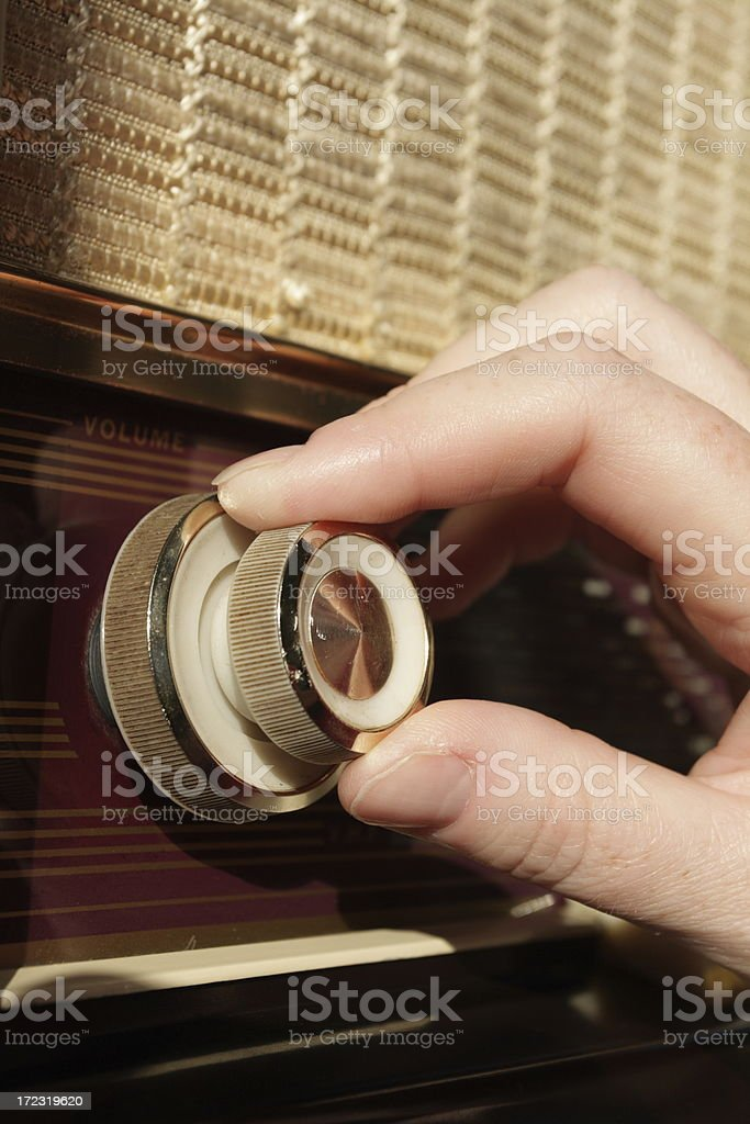Vintage Radio Tuning by Hand stock photo