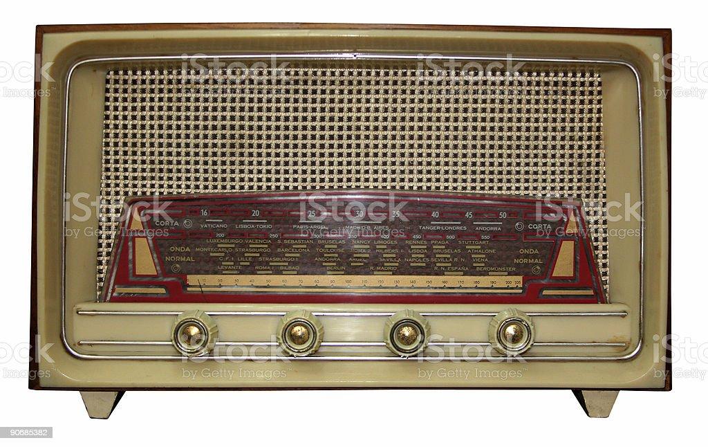 Vintage radio w/ path stock photo