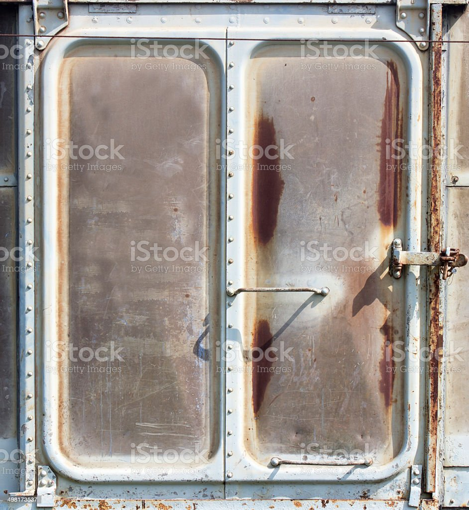 Vintage railroad container doors with rusty and old color. royalty-free stock photo