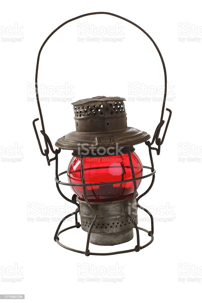 Vintage railroad lantern with red glass globe royalty-free stock photo