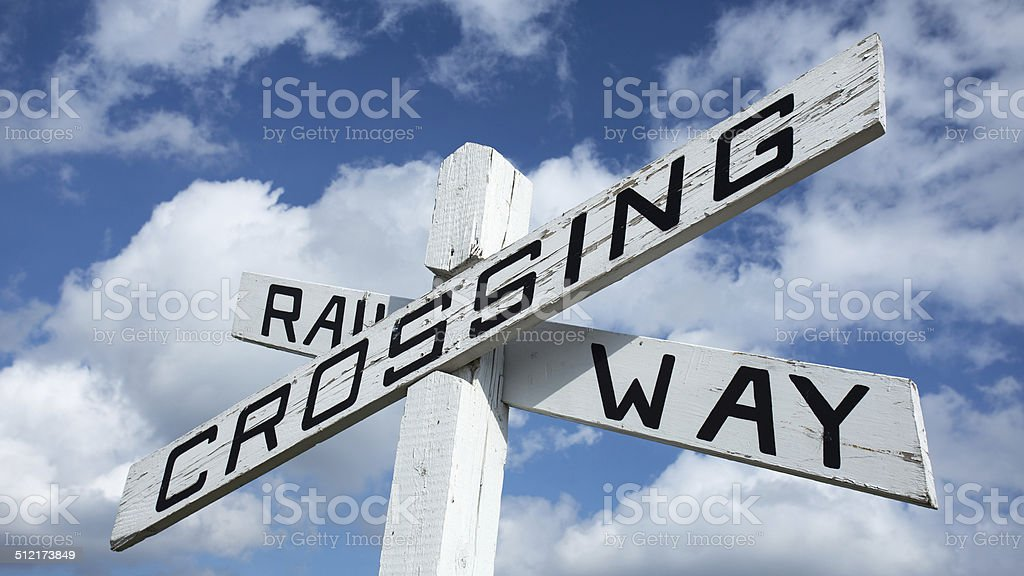 Vintage Railway Crossing Sign stock photo