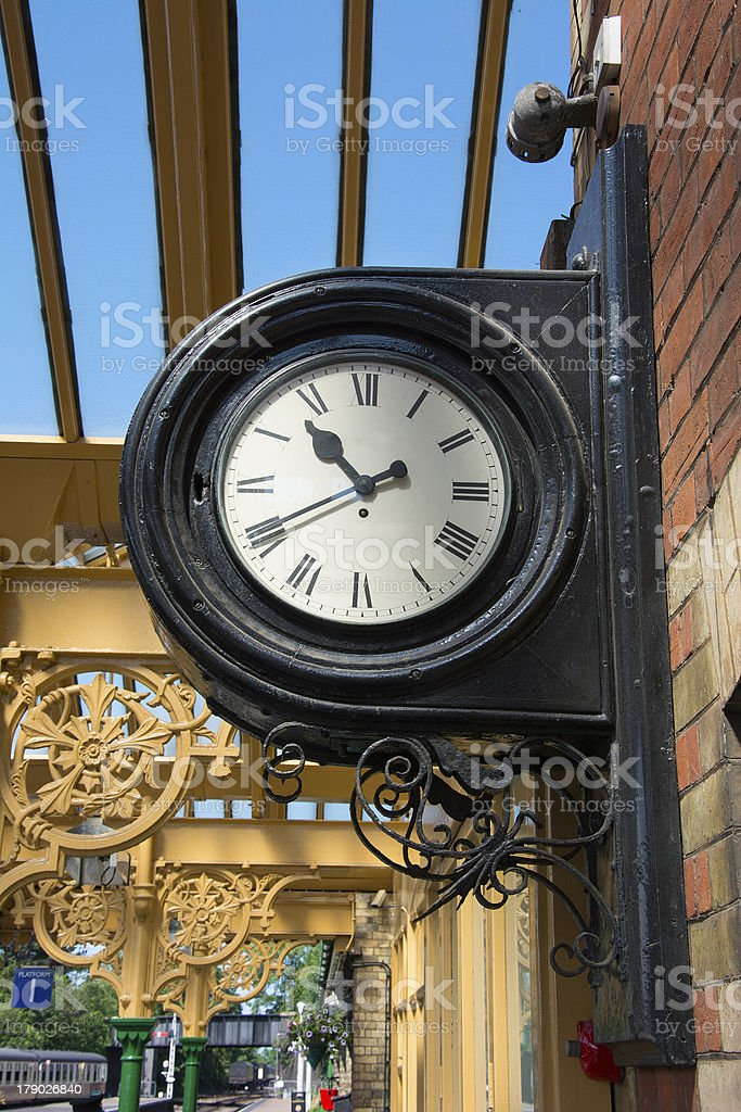 Vintage railway station wall mounted clock. royalty-free stock photo