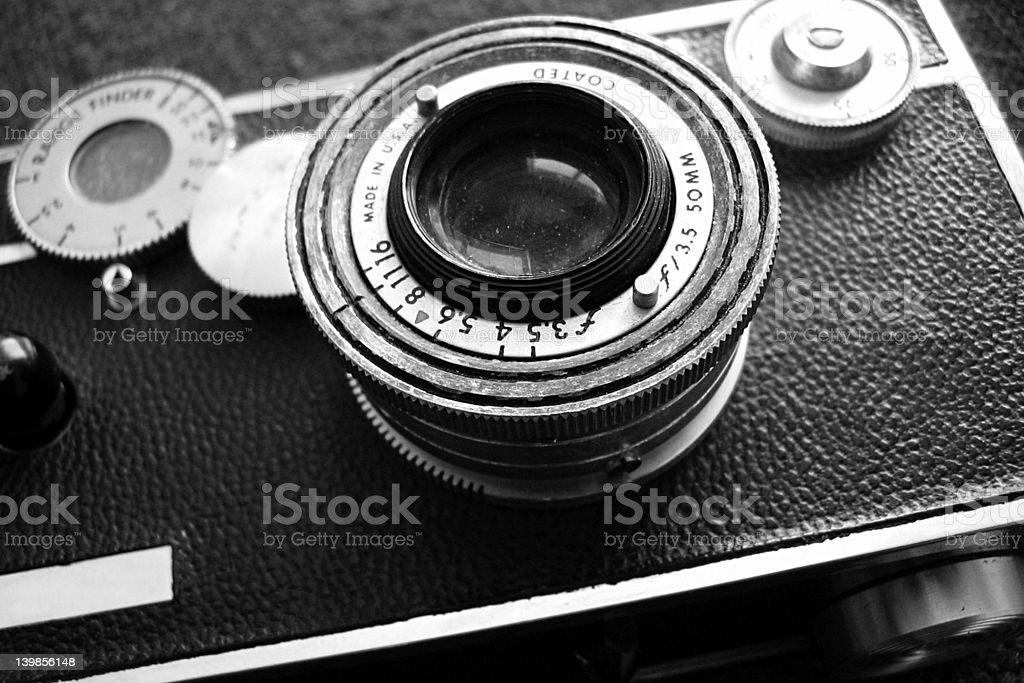 Vintage rangefinder camera in black and white stock photo