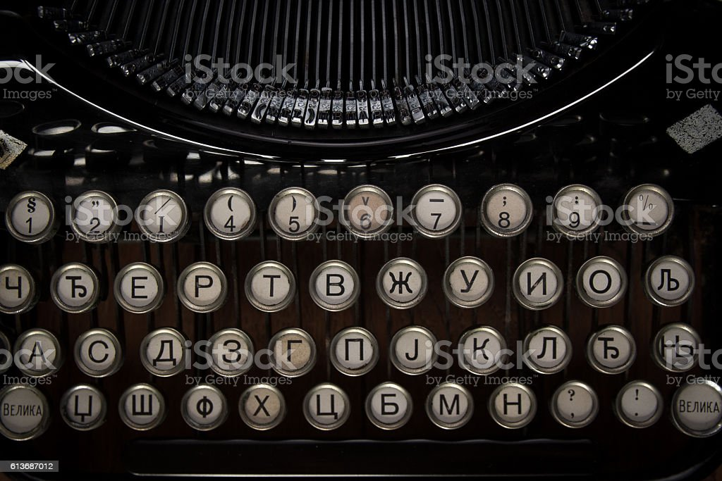 Vintage rare cyrillic typewriter keys stock photo