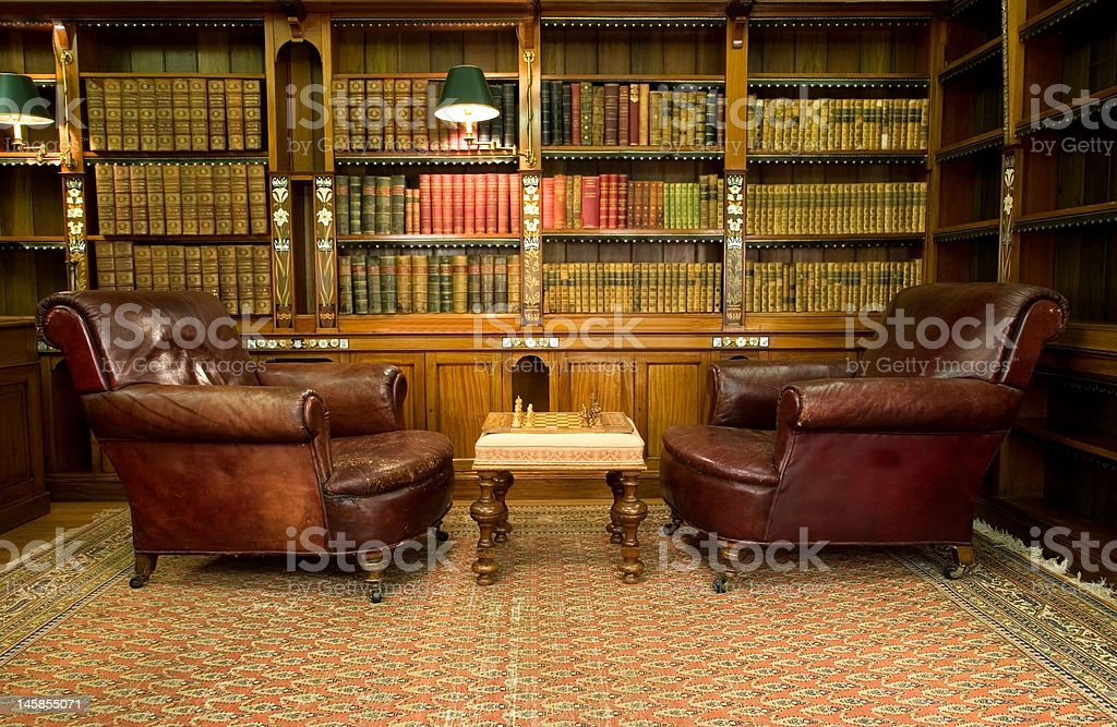 Vintage reading room stock photo