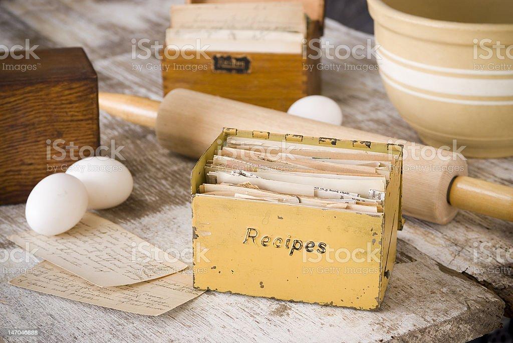Vintage recipe boxes royalty-free stock photo