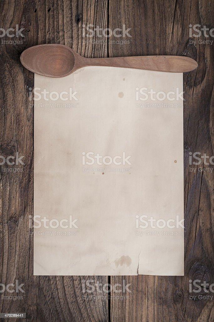 Vintage recipe paper stock photo