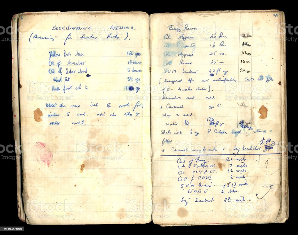 Vintage recipes for bookbinding dressing and bay rum stock photo