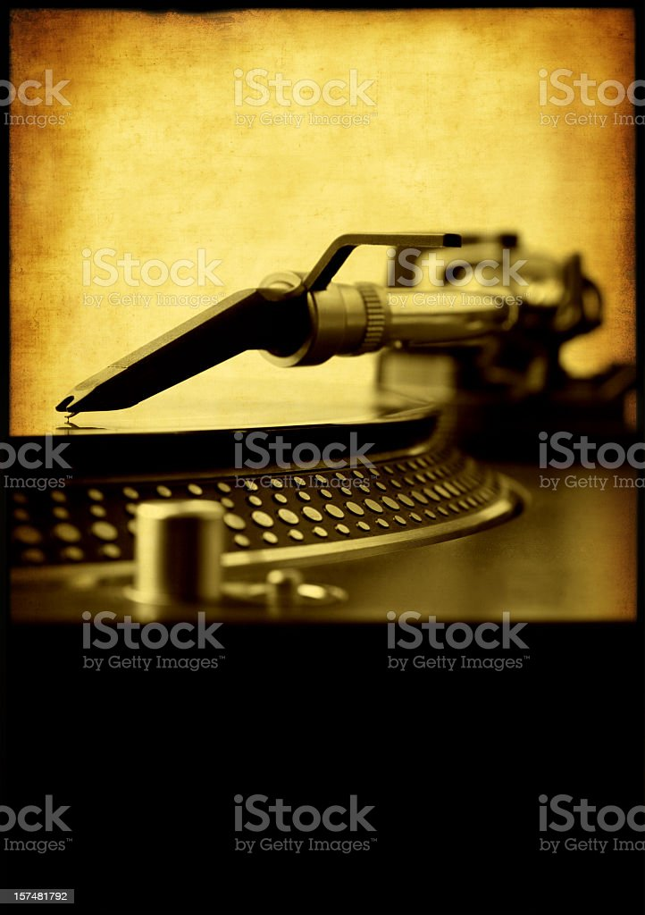 Vintage record play in black and yellow stock photo