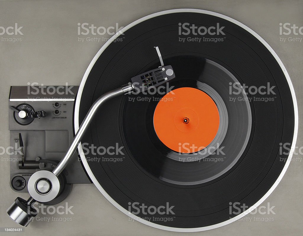 Vintage record player with vinyl phonorecord stock photo