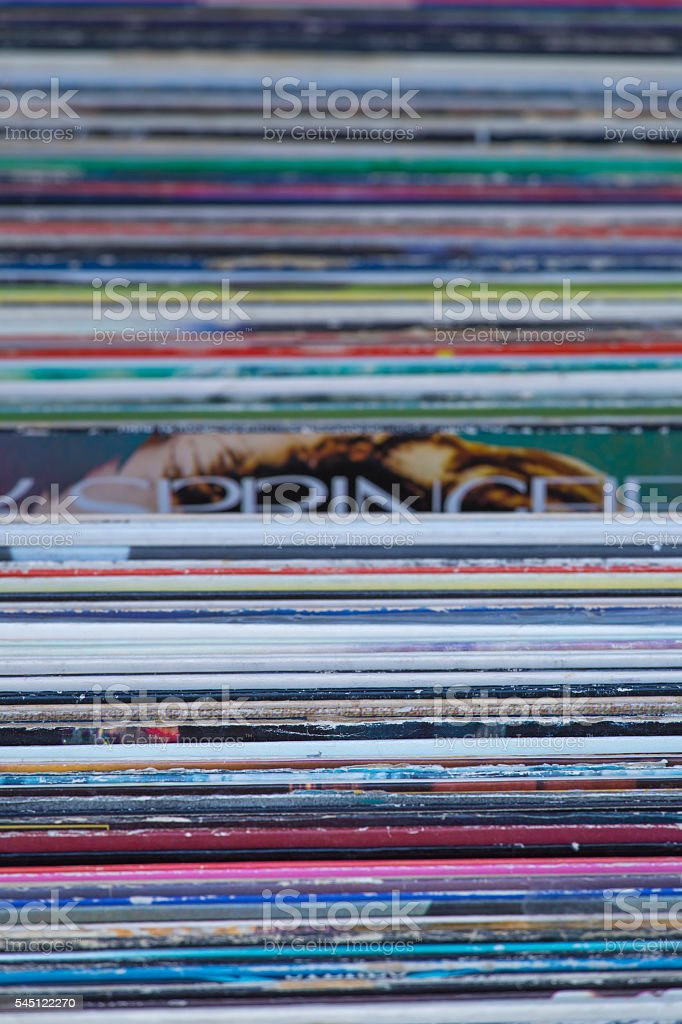 Vintage Records in a Row stock photo