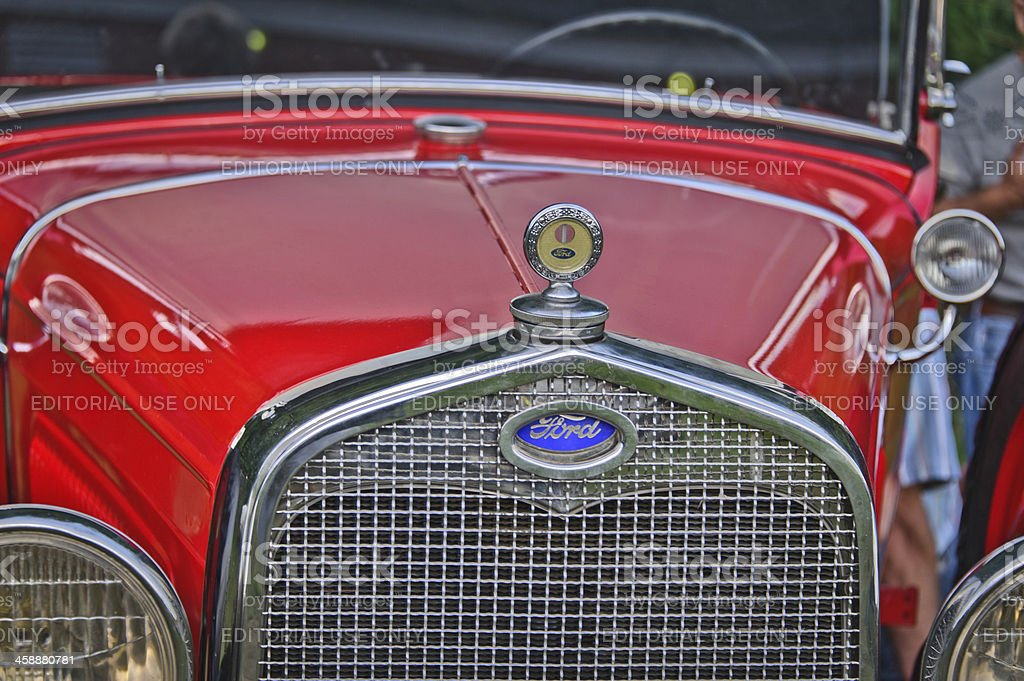 Vintage Red 1930 Ford Model A Grill & Hood stock photo