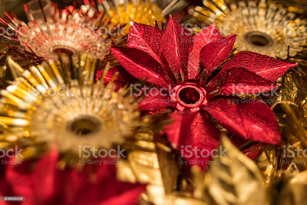 Vintage red and gold Christmas tree ornaments stock photo