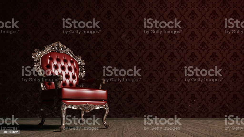 Vintage red armchair stock photo