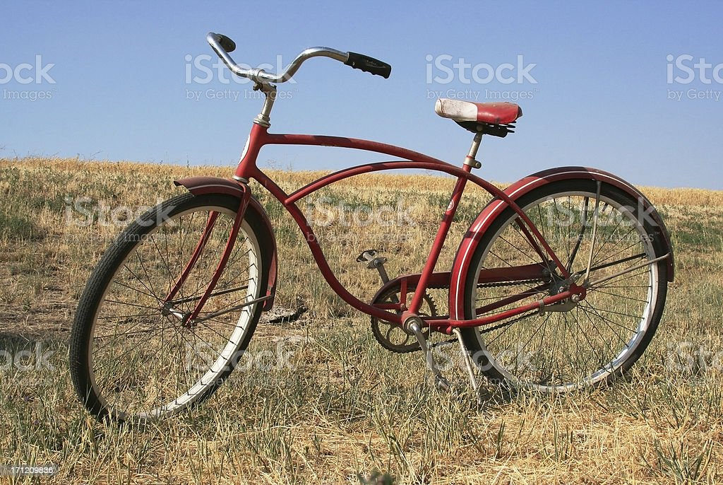 Vintage Red Bicycle royalty-free stock photo