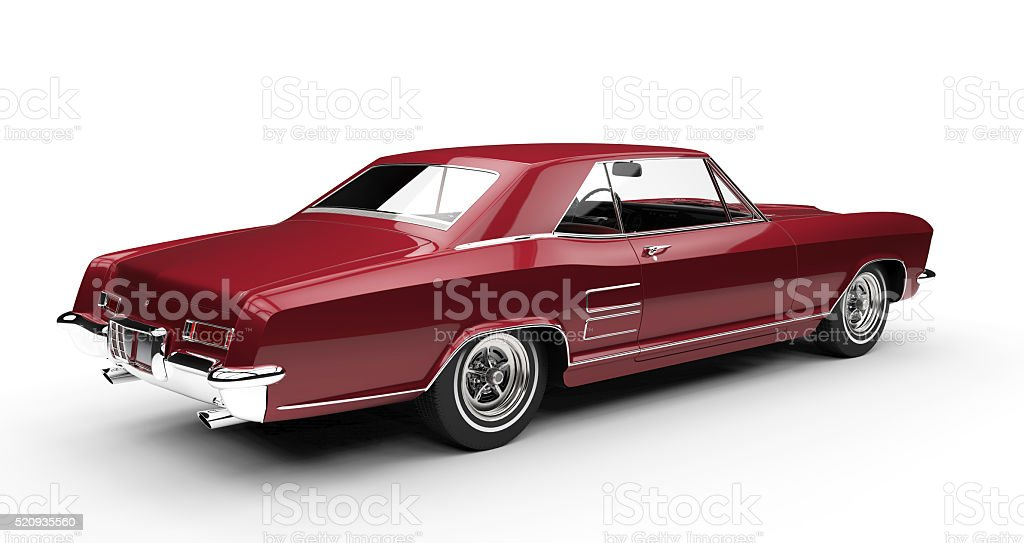 Vintage red car - isolated on white background stock photo