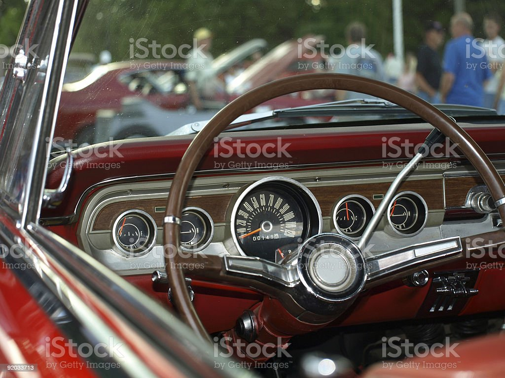 Vintage Red Convertable interior stock photo