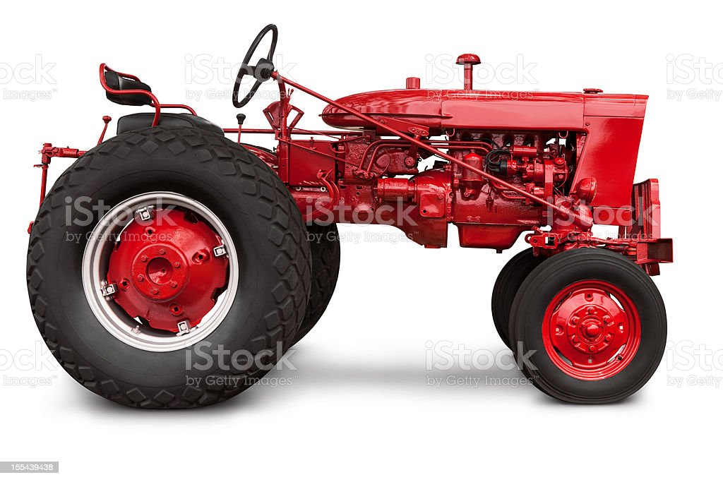 Vintage Red Farm Tractor in Profile with Clipping Path Isolated stock photo