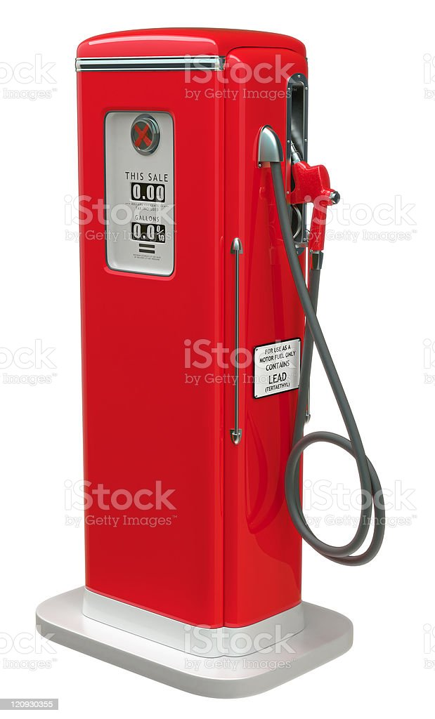 Vintage Red fuel pump isolated over white royalty-free stock photo