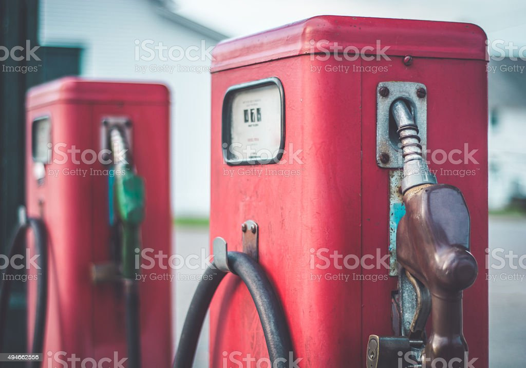 Vintage Red Fuel Pumps stock photo