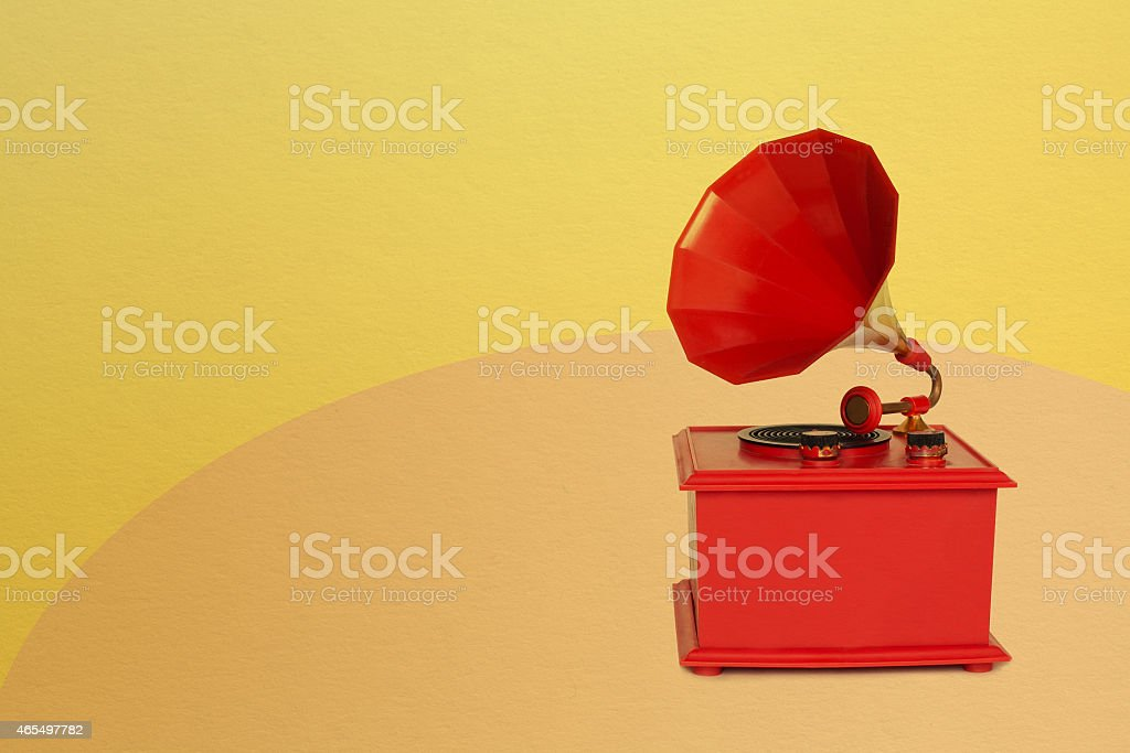 Vintage red gramophone stock photo