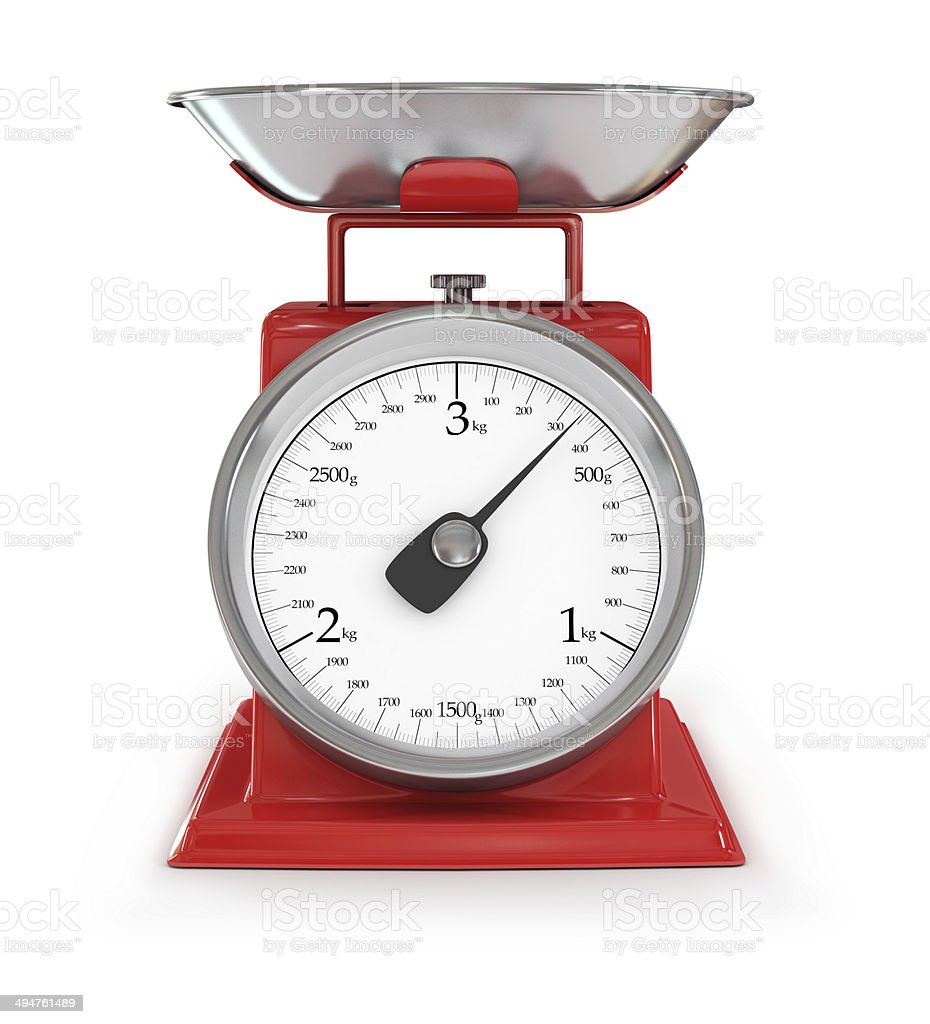 vintage red kitchen scales isolated on white background, clipping path. stock photo