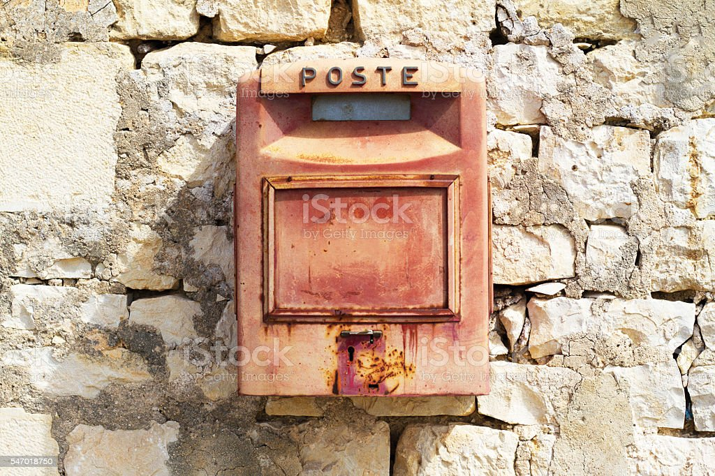 Vintage Red Mail Box ('Poste'), Old Stone Wall (Close-Up), Italy stock photo
