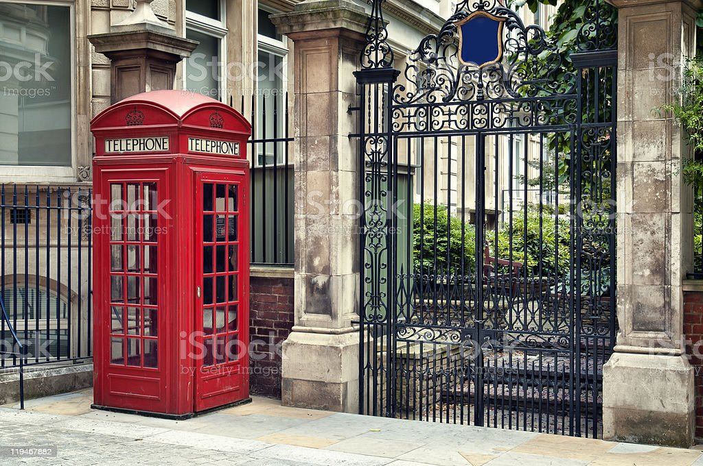 Vintage red phone booth in London royalty-free stock photo
