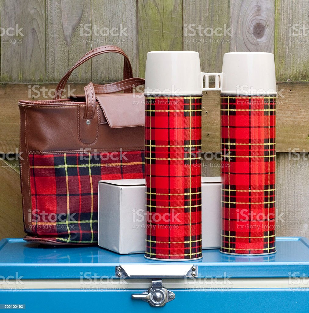 Vintage Red Plaid Picnic Set stock photo