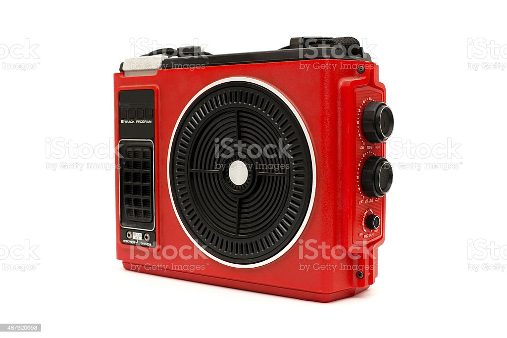 Vintage, Red Portable Eight Track Player, With White Background stock photo