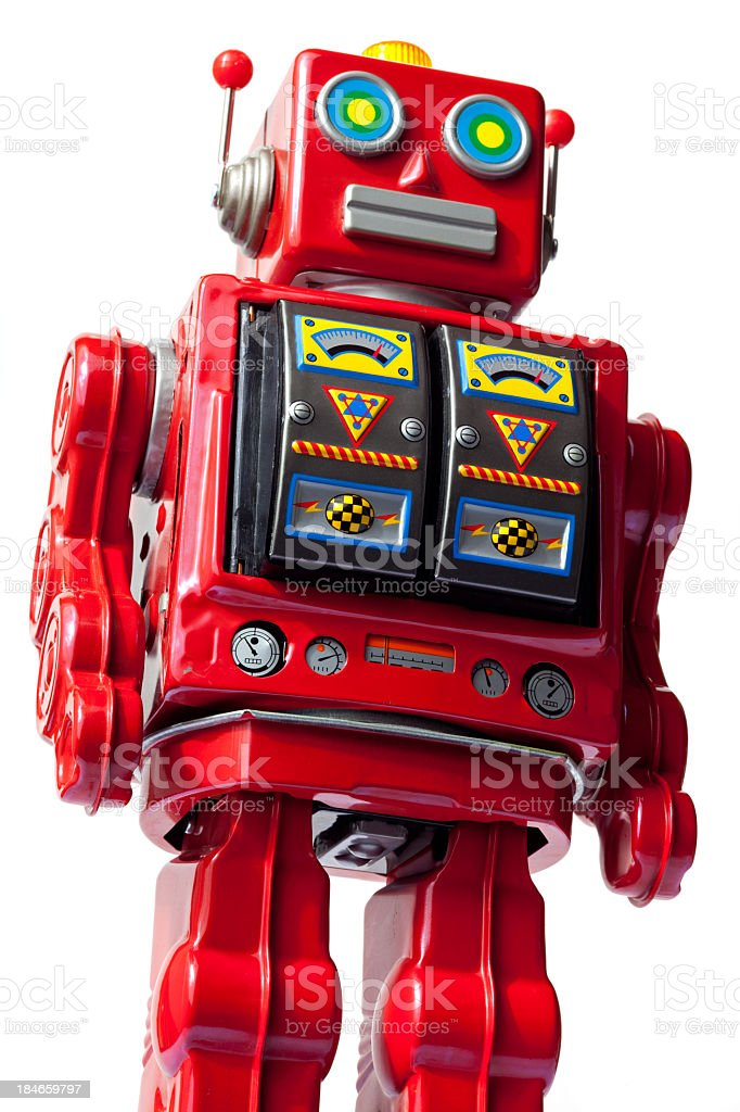 Vintage, red tin robot you with slot machine chest stock photo