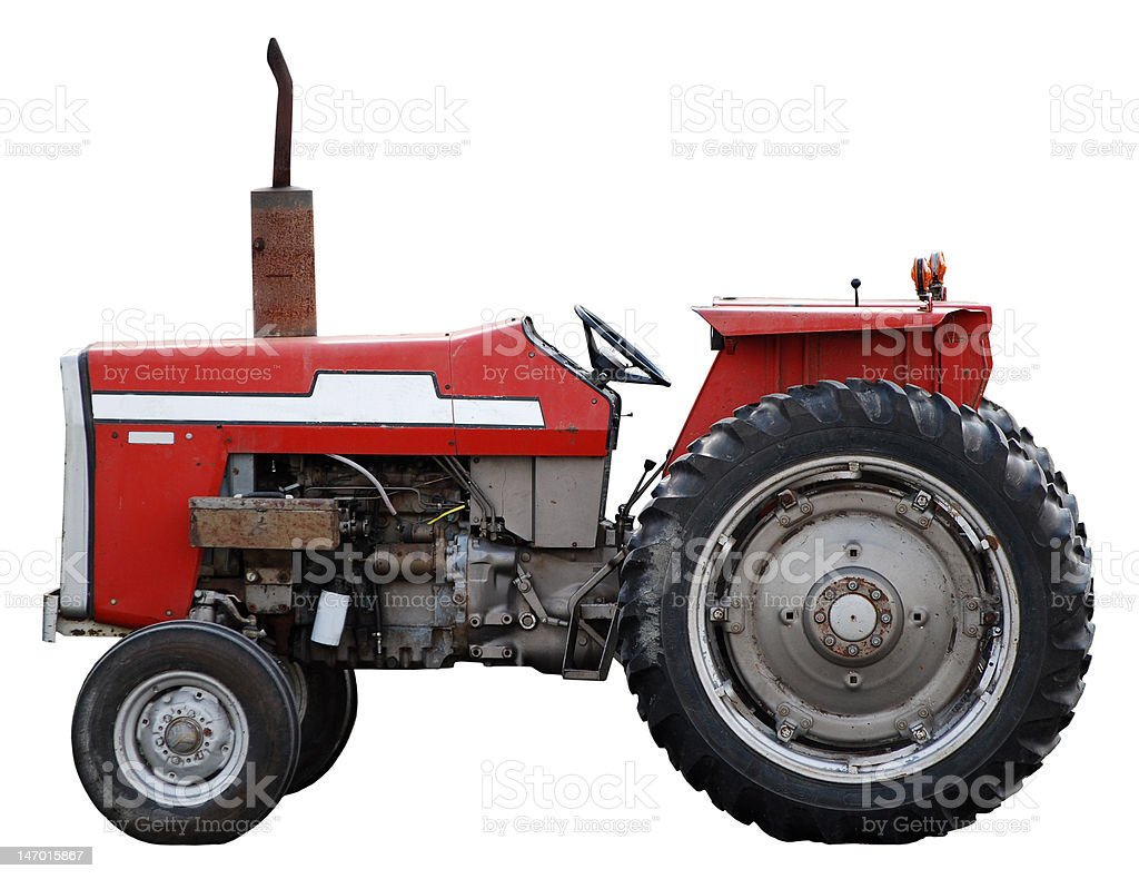 Vintage red tractor royalty-free stock photo