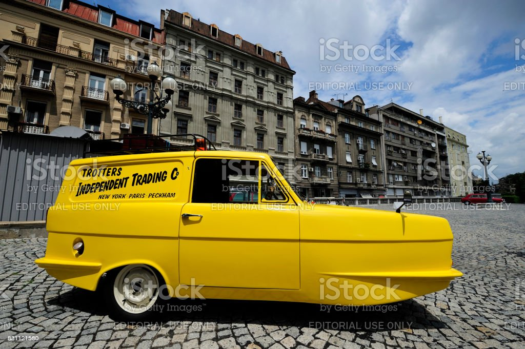 Vintage Reliant Regal similar to Trotters mini van stock photo