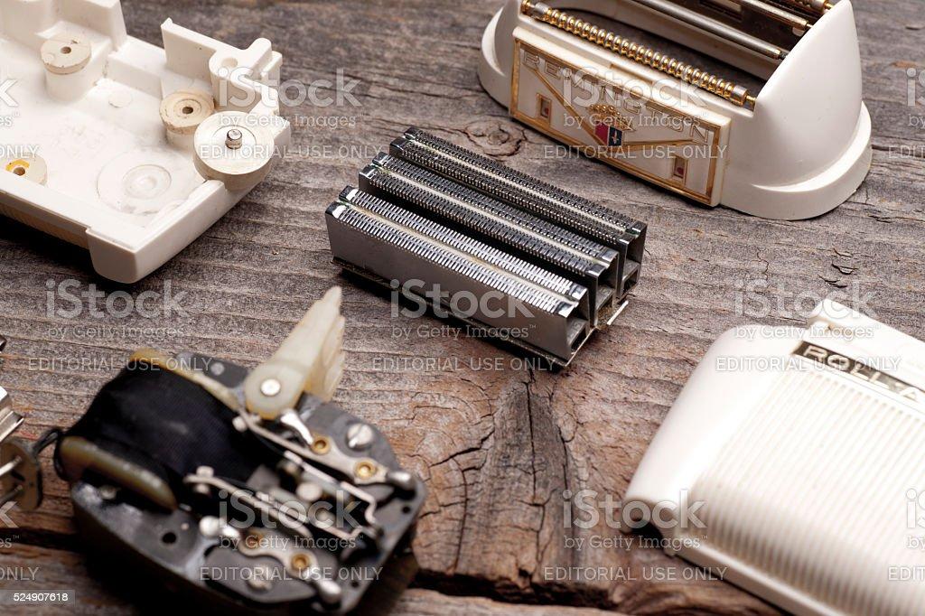 Vintage Remington Shaver Parts stock photo
