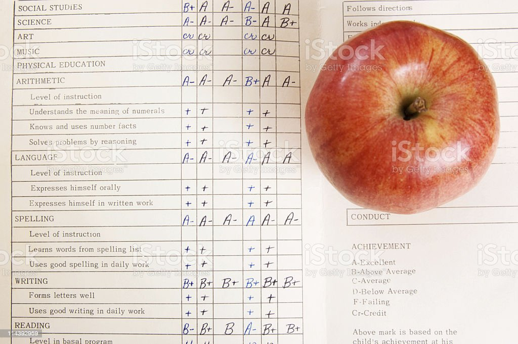Vintage Report Card stock photo