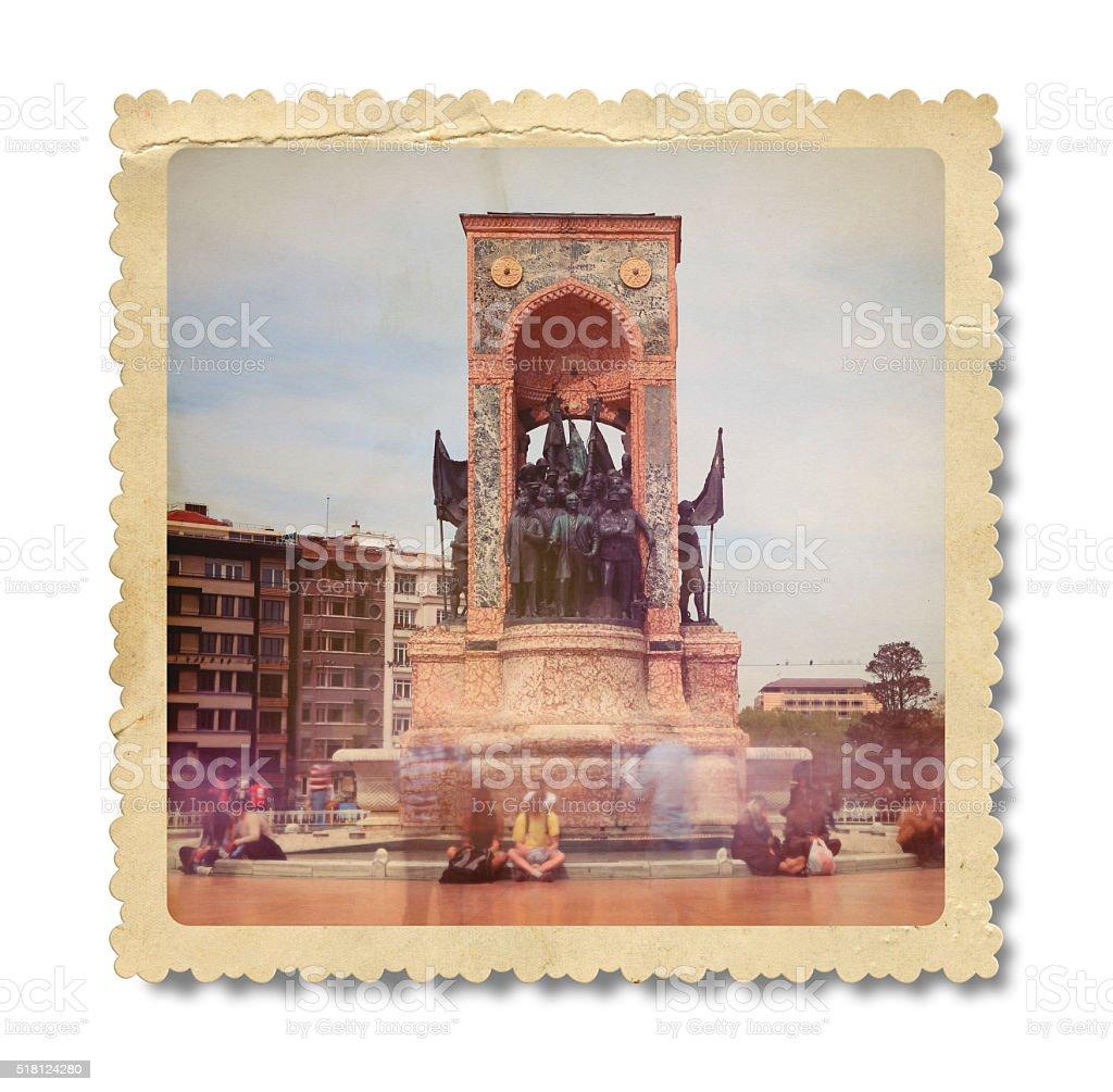 Vintage Republic Monument Taksim Square Istanbul (Clipping Path) stock photo