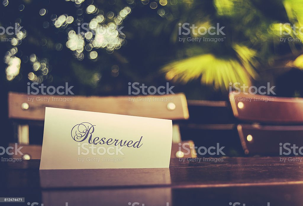 Vintage Reserved Restaurant Table stock photo