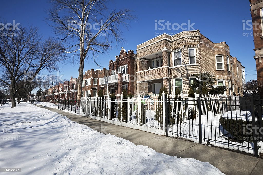 Vintage Residential Chicago Street in Winter. royalty-free stock photo