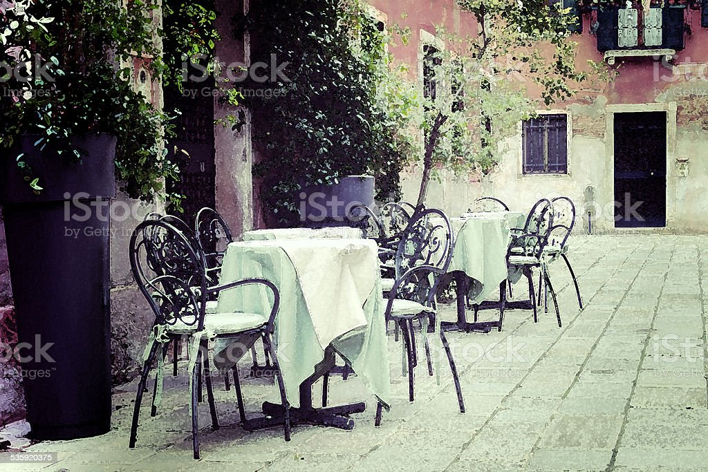 vintage restaurant in water color effect stock photo