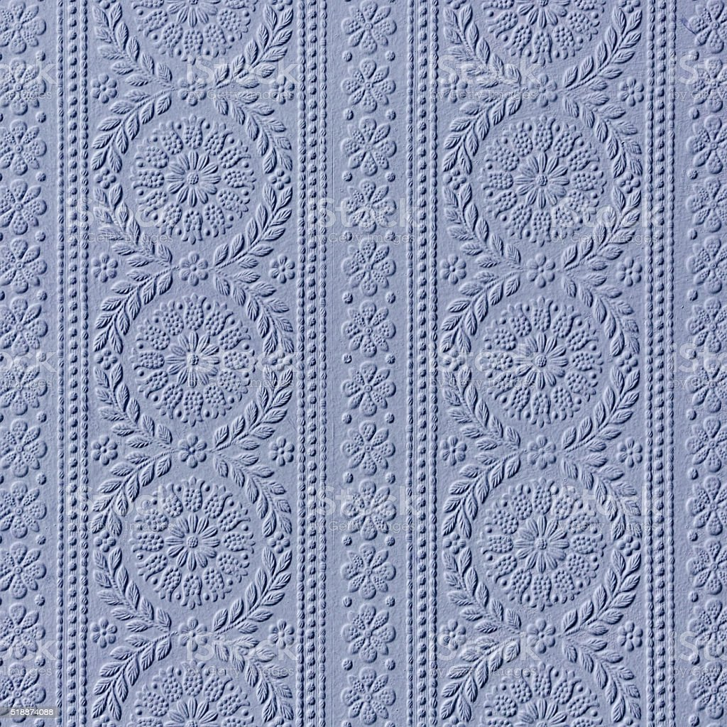 Vintage retro blue wall paper background. stock photo