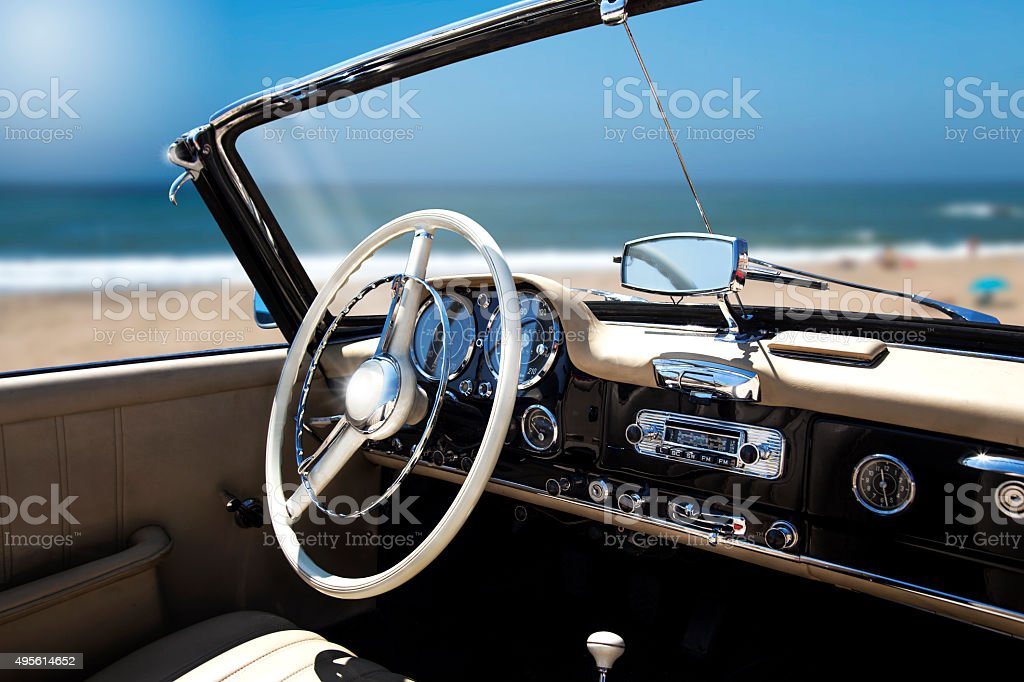 Vintage retro car interior stock photo