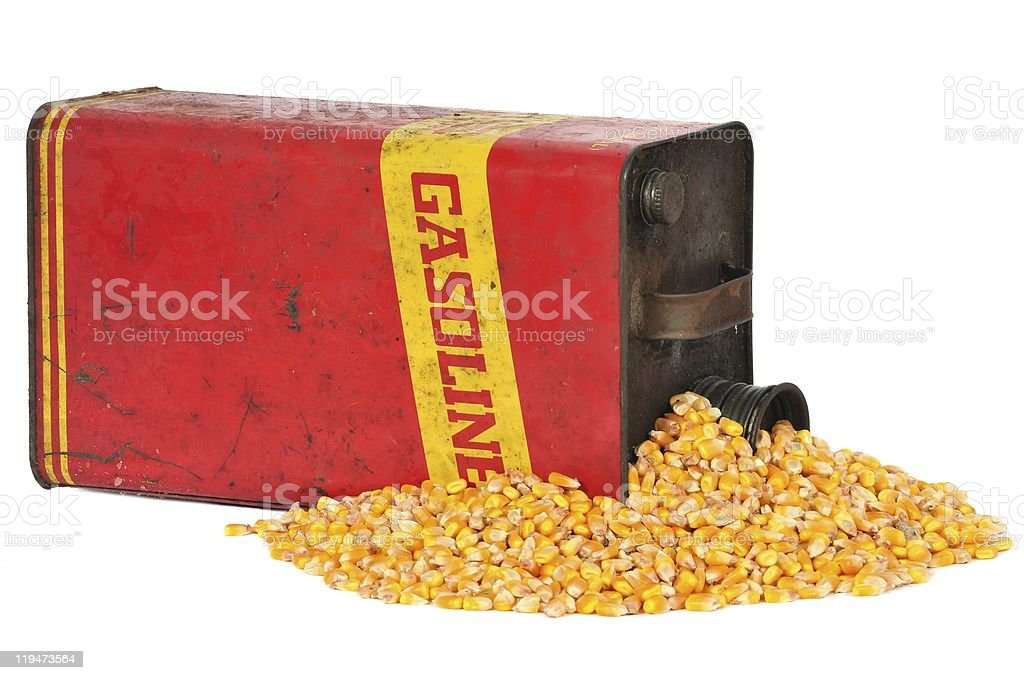 Vintage retro metalic fuel container gasoline or corn ethanol stock photo