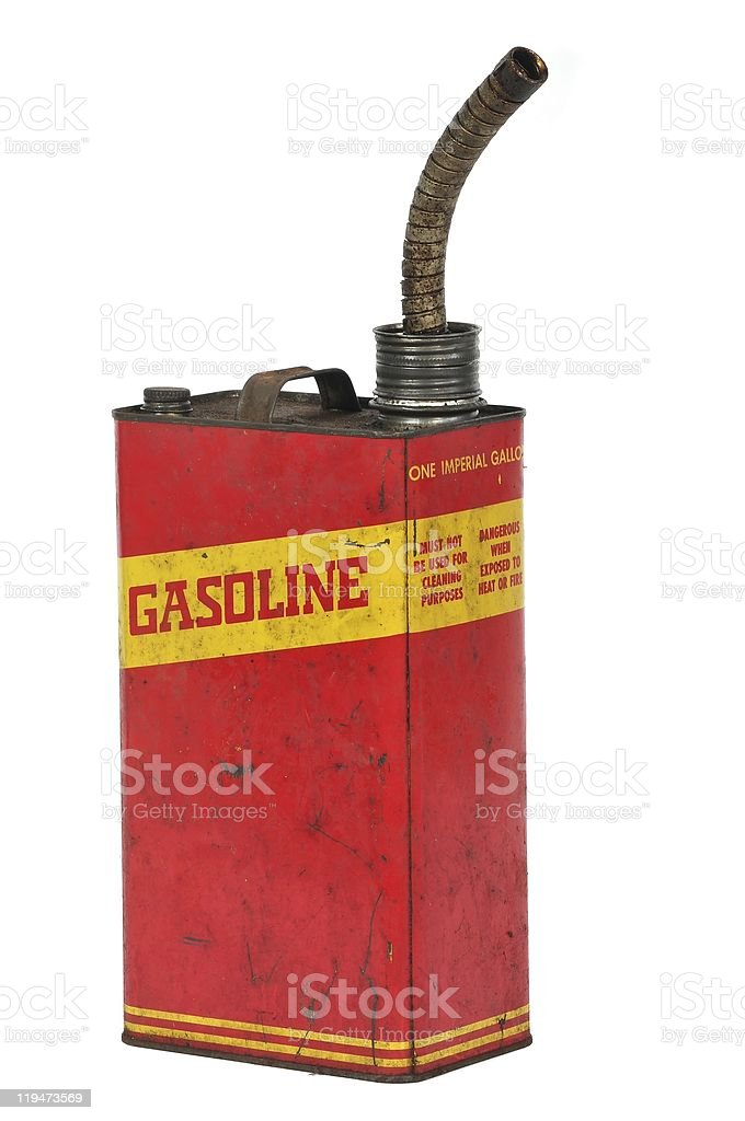 Vintage retro metalic fuel container isolated on white stock photo
