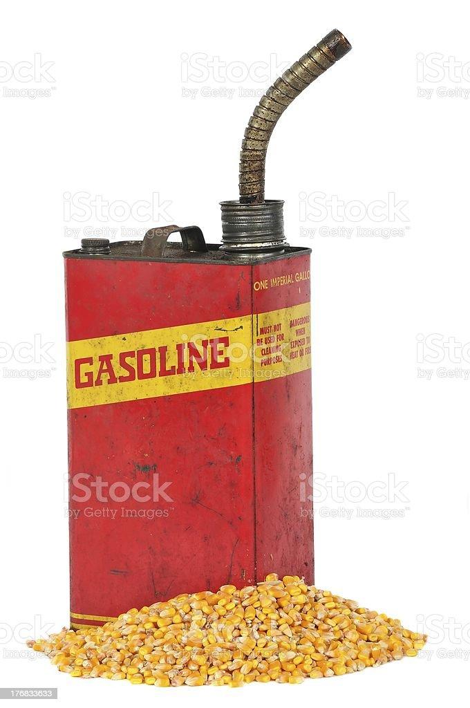 Vintage retro metallic fuel container gasoline or corn ethanol royalty-free stock photo
