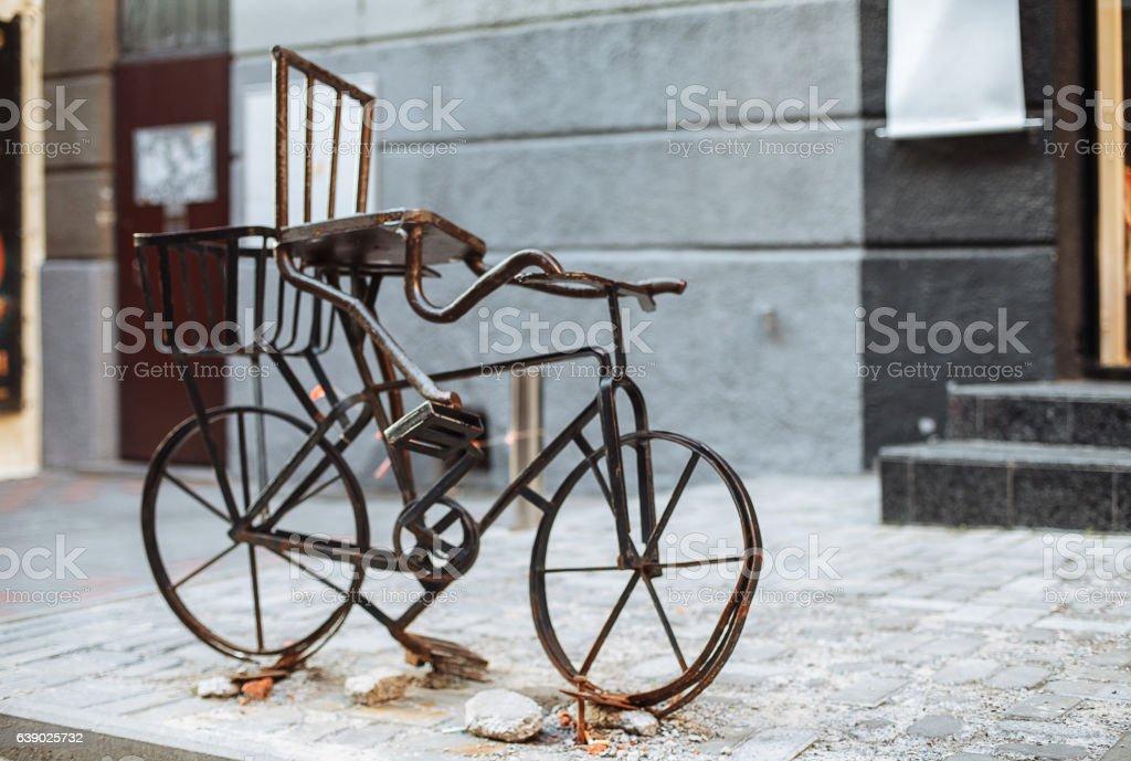 Vintage Retro old rusty bike on the street decorative stock photo