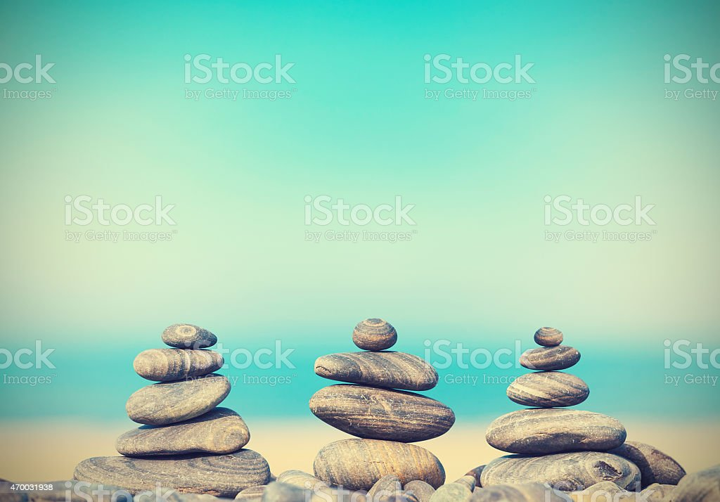 Vintage retro style image of stone pyramids. stock photo